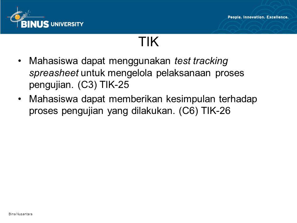 TIK Mahasiswa dapat menggunakan test tracking spreasheet untuk mengelola pelaksanaan proses pengujian. (C3) TIK-25.
