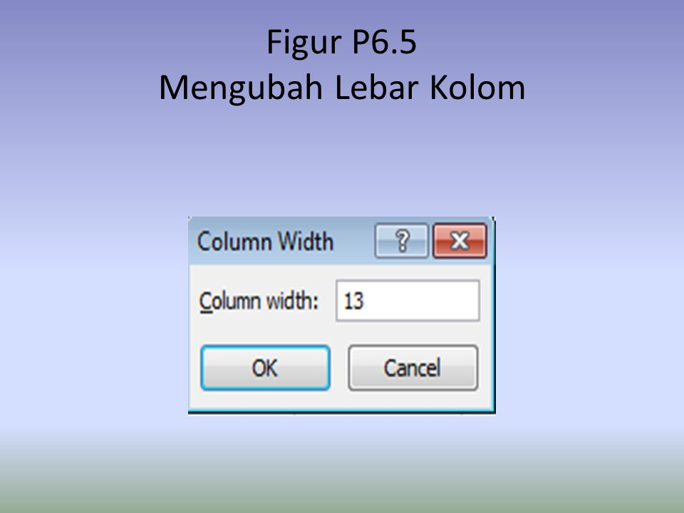 Figur P6.5 Mengubah Lebar Kolom
