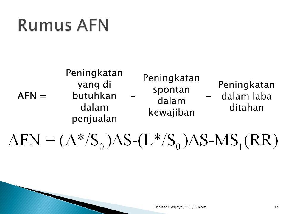 Rumus AFN AFN = Peningkatan yang di butuhkan dalam penjualan