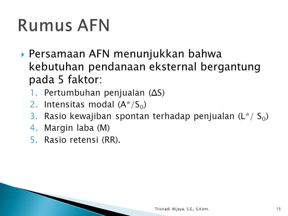 Rumus AFN Persamaan AFN menunjukkan bahwa kebutuhan pendanaan eksternal bergantung pada 5 faktor: