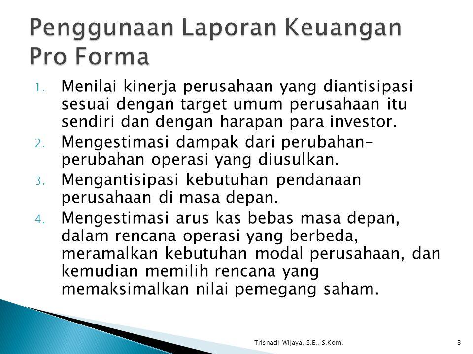 Penggunaan Laporan Keuangan Pro Forma