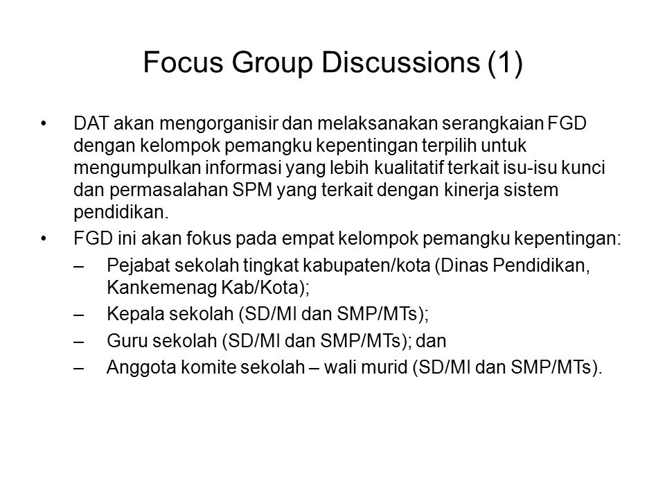 Focus Group Discussions (1)