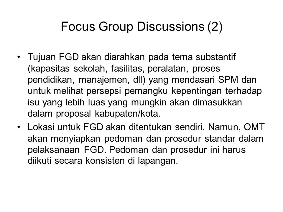 Focus Group Discussions (2)