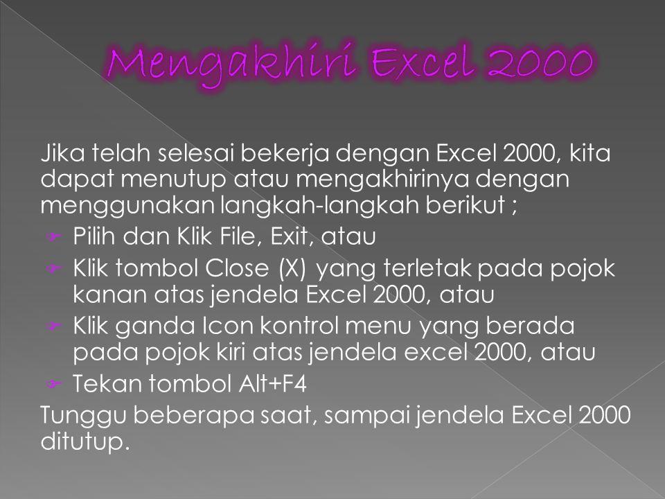 Mengakhiri Excel 2000