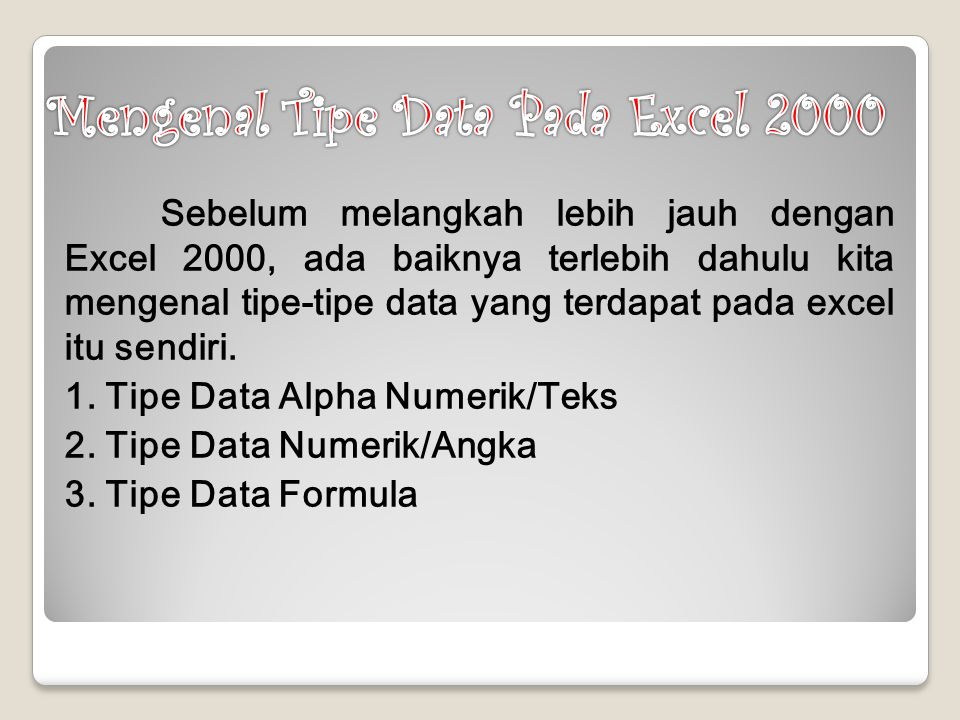 Mengenal Tipe Data Pada Excel 2000