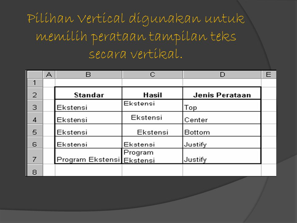 Pilihan Vertical digunakan untuk memilih perataan tampilan teks secara vertikal.
