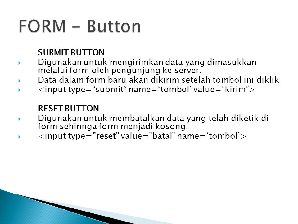 FORM - Button SUBMIT BUTTON