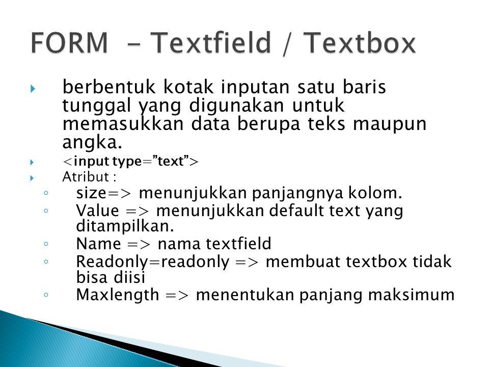 FORM - Textfield / Textbox