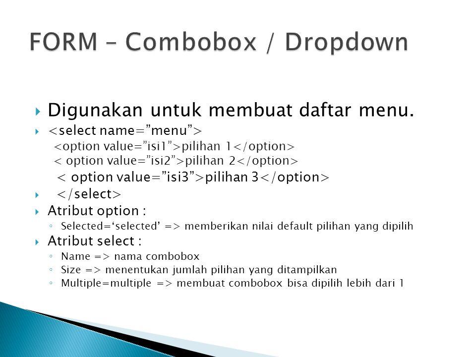 FORM – Combobox / Dropdown