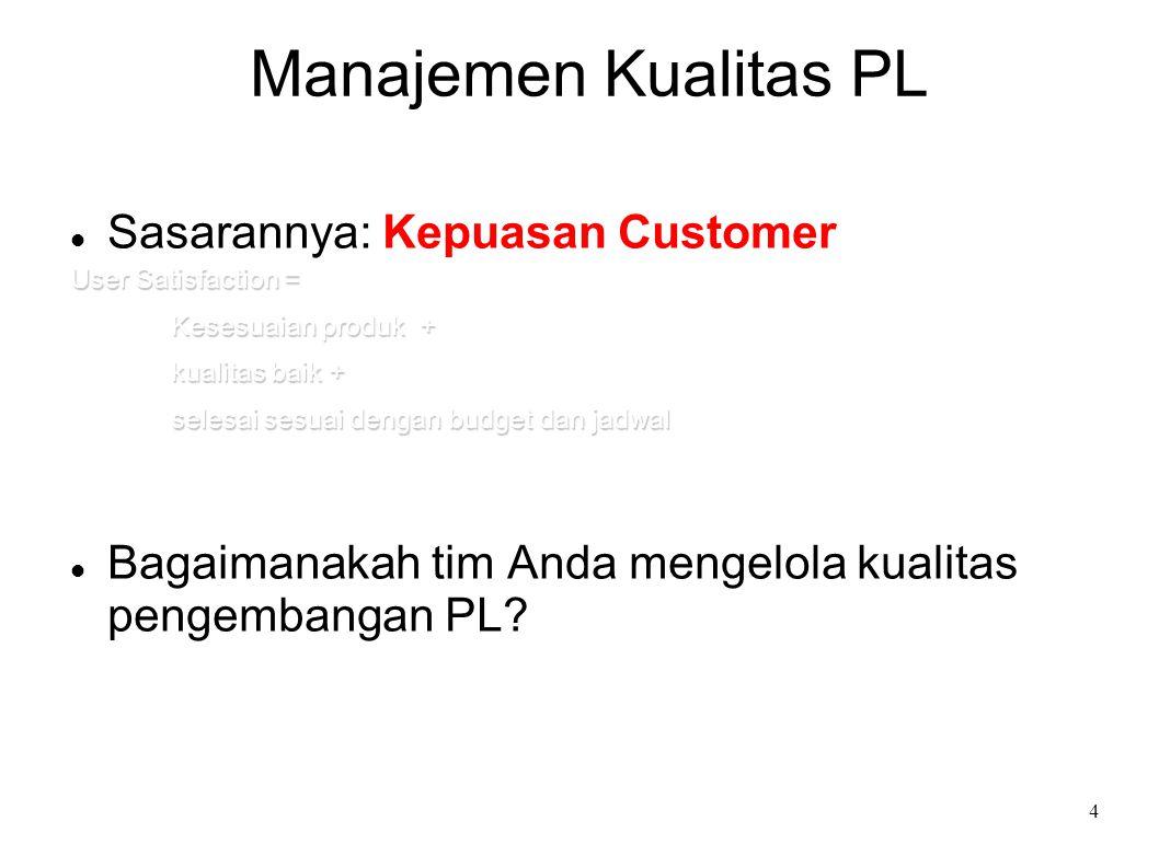 Manajemen Kualitas PL Sasarannya: Kepuasan Customer