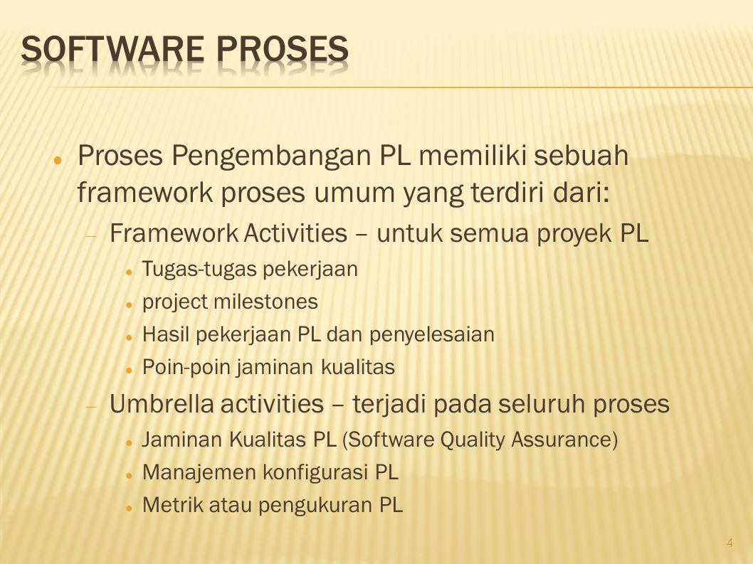 Software Proses Proses Pengembangan PL memiliki sebuah framework proses umum yang terdiri dari: Framework Activities – untuk semua proyek PL.