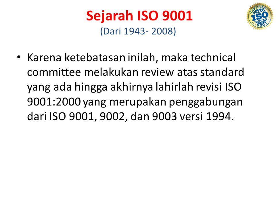 Sejarah ISO 9001 (Dari 1943- 2008)