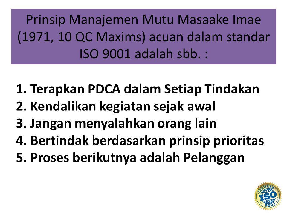 Prinsip Manajemen Mutu Masaake Imae (1971, 10 QC Maxims) acuan dalam standar ISO 9001 adalah sbb. :