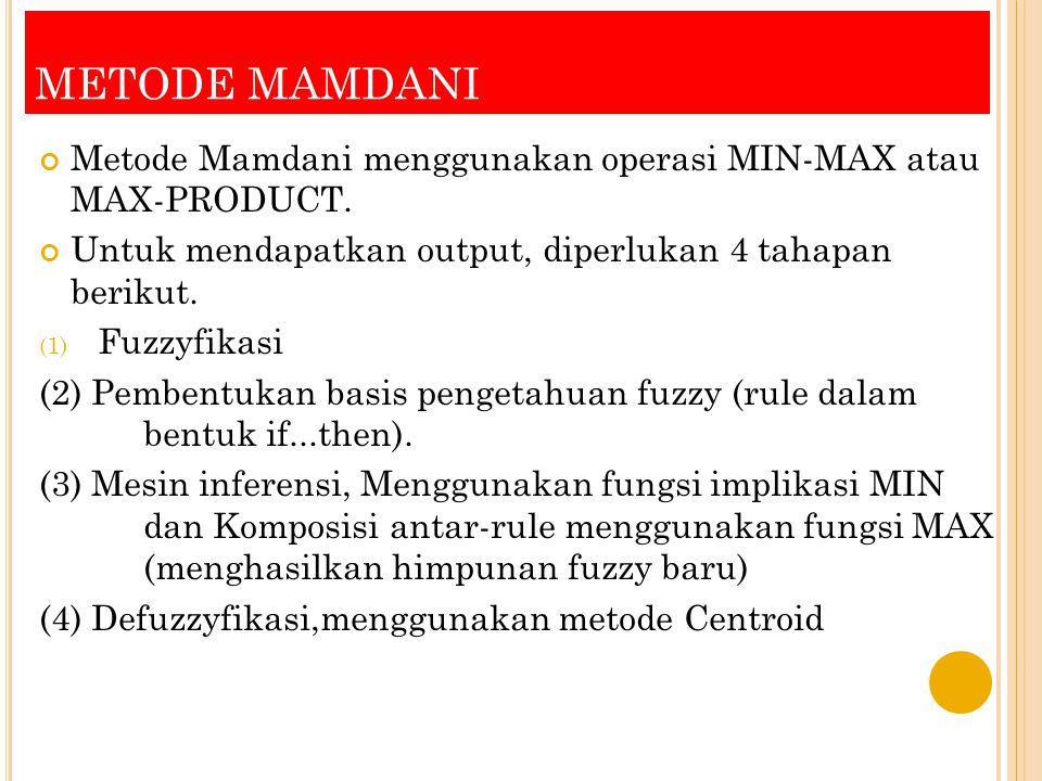 METODE MAMDANI Metode Mamdani menggunakan operasi MIN-MAX atau MAX-PRODUCT. Untuk mendapatkan output, diperlukan 4 tahapan berikut.