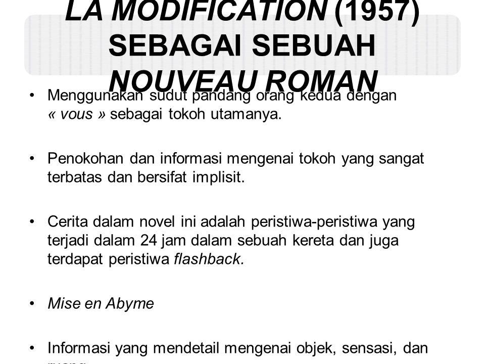 LA MODIFICATION (1957) SEBAGAI SEBUAH NOUVEAU ROMAN