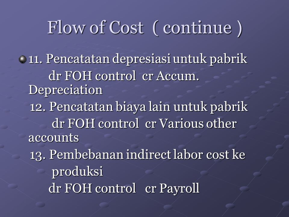 Flow of Cost ( continue )