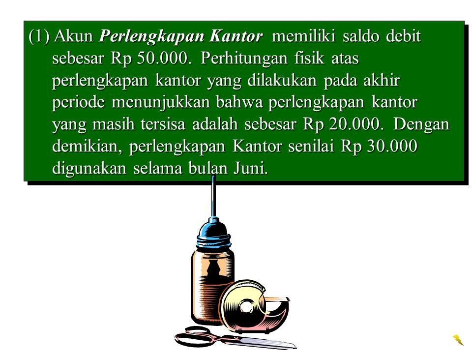 (1) Akun Perlengkapan Kantor memiliki saldo debit sebesar Rp 50. 000