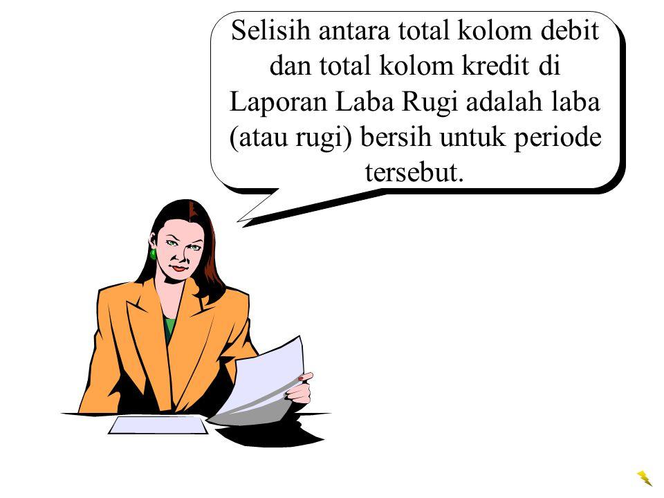 Selisih antara total kolom debit dan total kolom kredit di Laporan Laba Rugi adalah laba (atau rugi) bersih untuk periode tersebut.