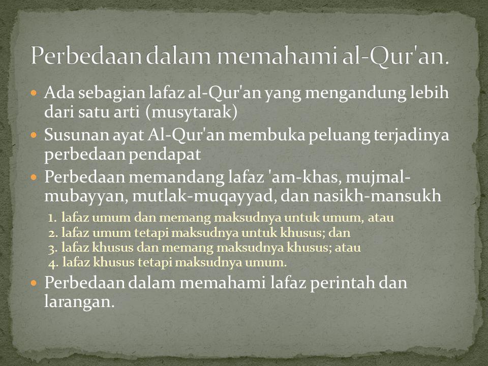 Perbedaan dalam memahami al-Qur an.