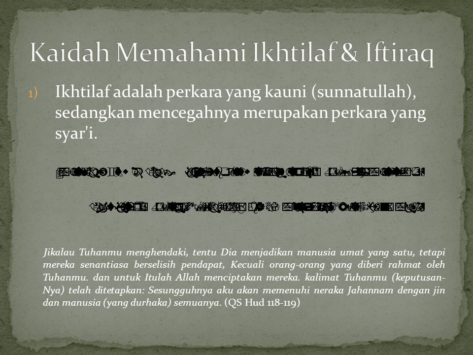 Kaidah Memahami Ikhtilaf & Iftiraq