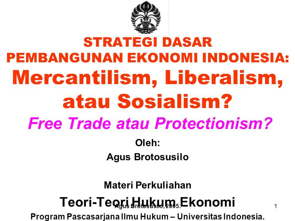 STRATEGI DASAR PEMBANGUNAN EKONOMI INDONESIA: Mercantilism, Liberalism, atau Sosialism Free Trade atau Protectionism