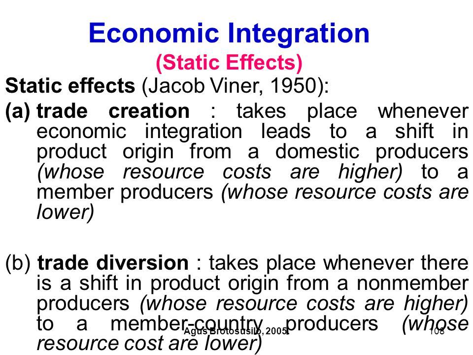 Economic Integration (Static Effects)