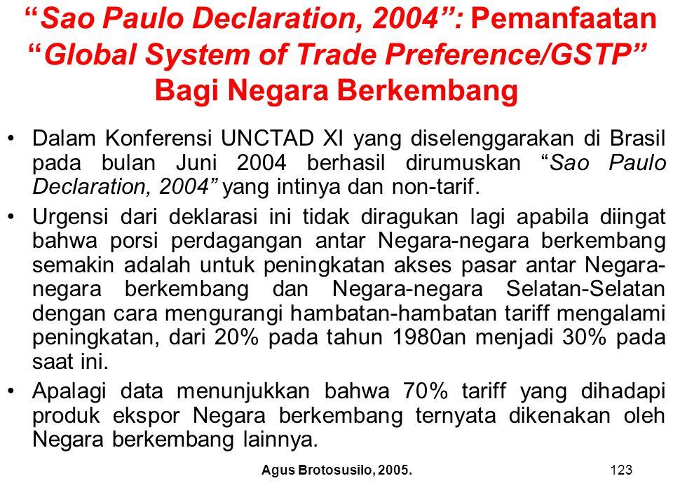 Sao Paulo Declaration, 2004 : Pemanfaatan Global System of Trade Preference/GSTP Bagi Negara Berkembang