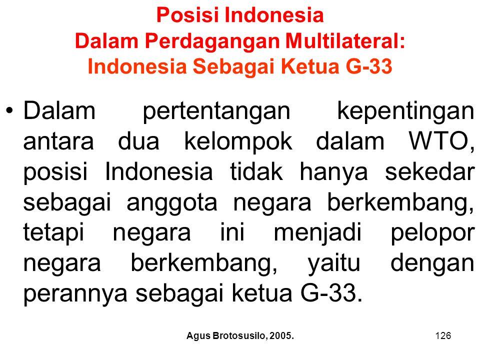 Posisi Indonesia Dalam Perdagangan Multilateral: Indonesia Sebagai Ketua G-33
