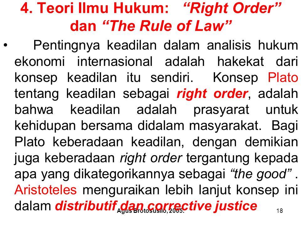 4. Teori Ilmu Hukum: Right Order dan The Rule of Law