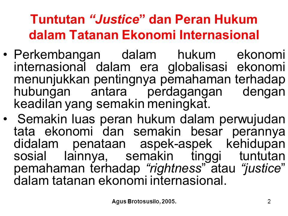 Tuntutan Justice dan Peran Hukum dalam Tatanan Ekonomi Internasional