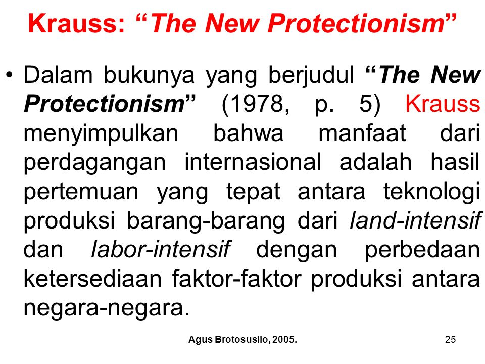 Krauss: The New Protectionism