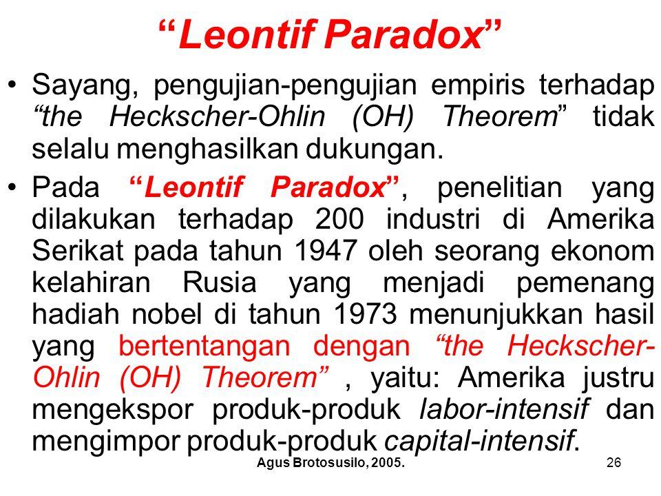 Leontif Paradox Sayang, pengujian-pengujian empiris terhadap the Heckscher-Ohlin (OH) Theorem tidak selalu menghasilkan dukungan.