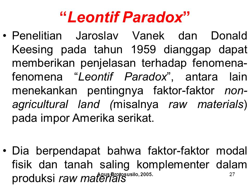 Leontif Paradox