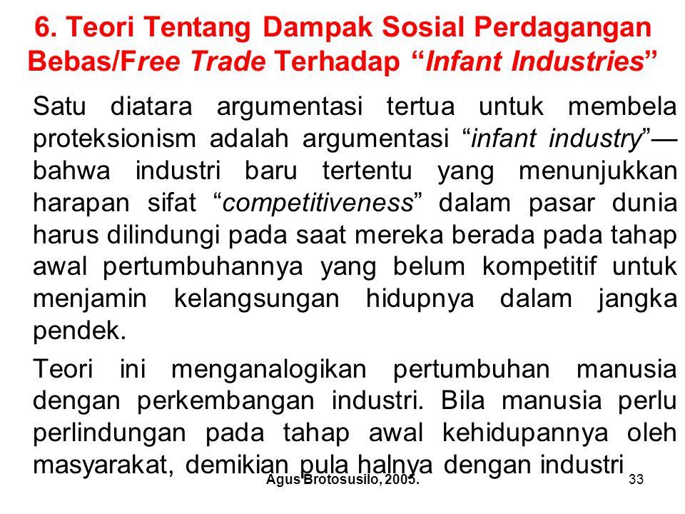 6. Teori Tentang Dampak Sosial Perdagangan Bebas/Free Trade Terhadap Infant Industries