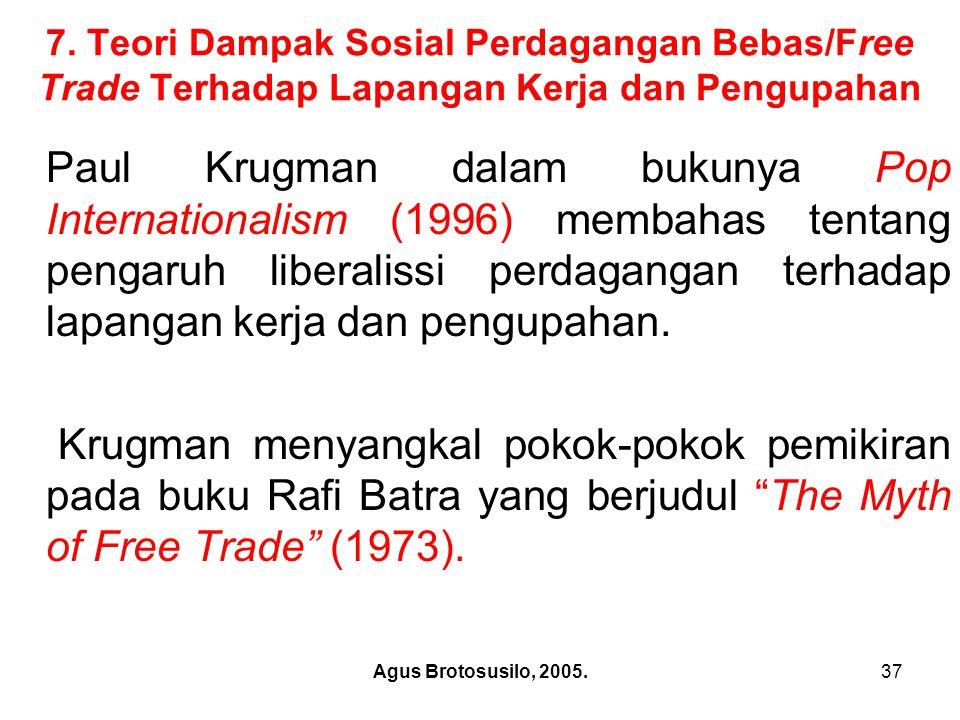 7. Teori Dampak Sosial Perdagangan Bebas/Free Trade Terhadap Lapangan Kerja dan Pengupahan