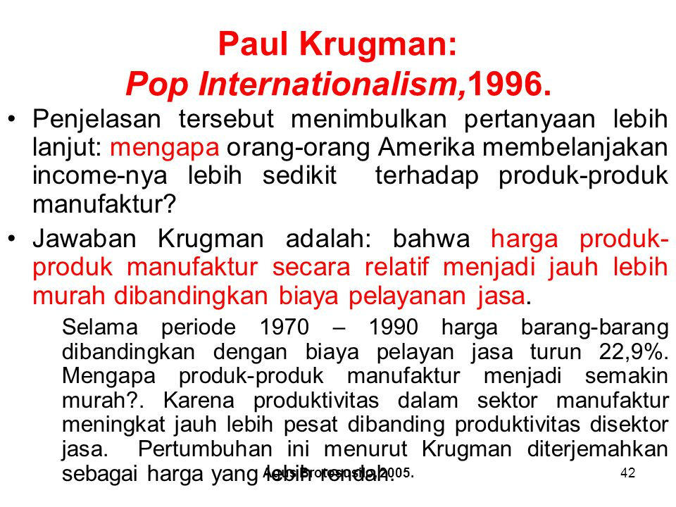 Paul Krugman: Pop Internationalism,1996.