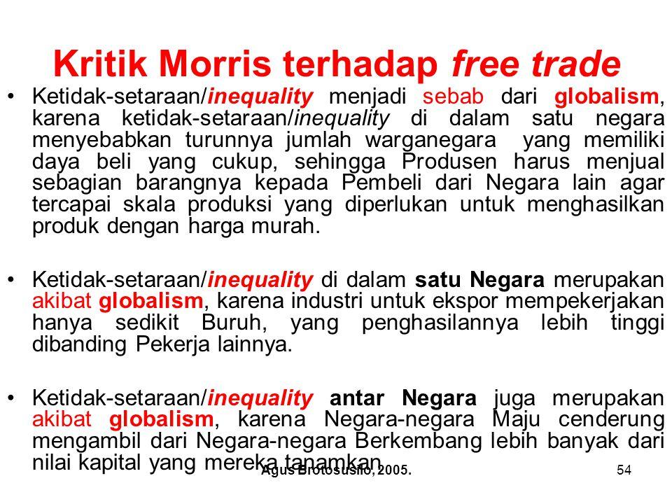 Kritik Morris terhadap free trade