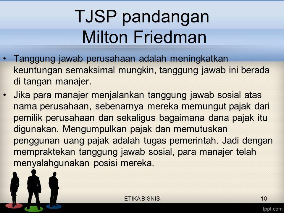 TJSP pandangan Milton Friedman