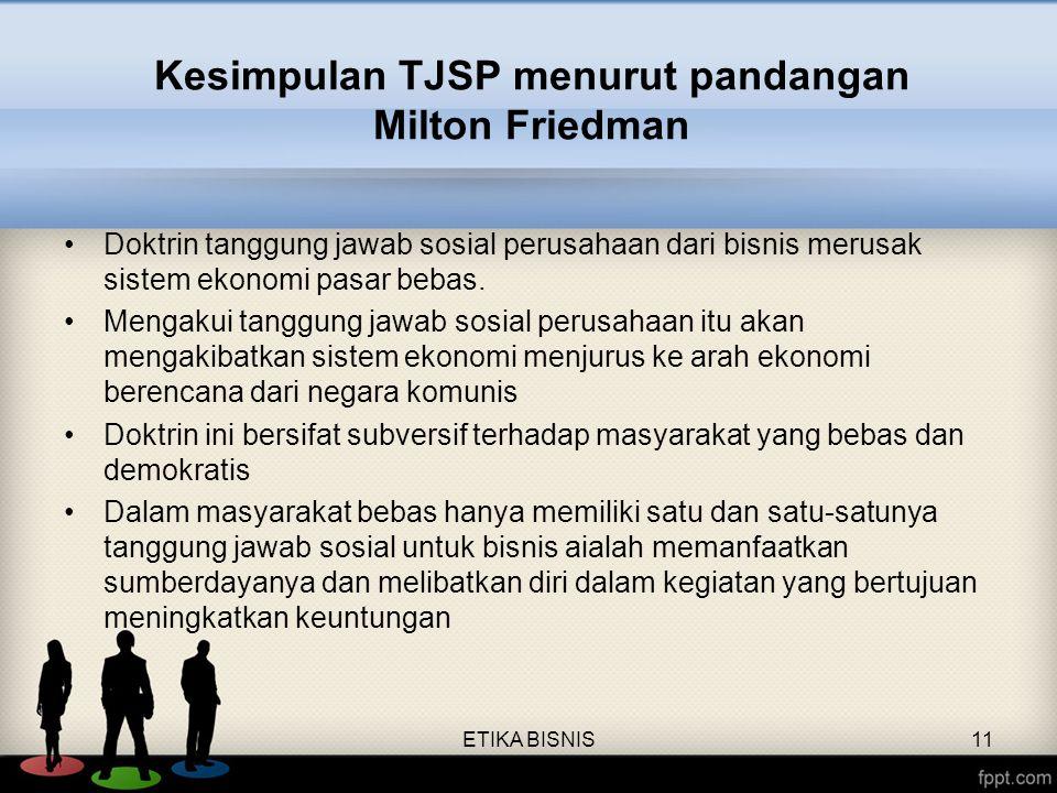 Kesimpulan TJSP menurut pandangan Milton Friedman