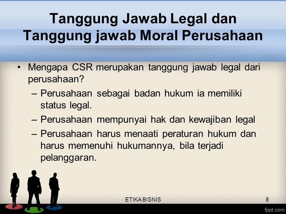 Tanggung Jawab Legal dan Tanggung jawab Moral Perusahaan