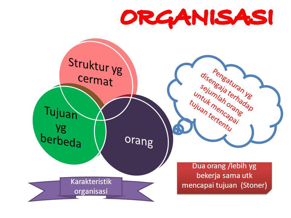 ORGANISASI Struktur yg cermat Tujuan yg berbeda orang