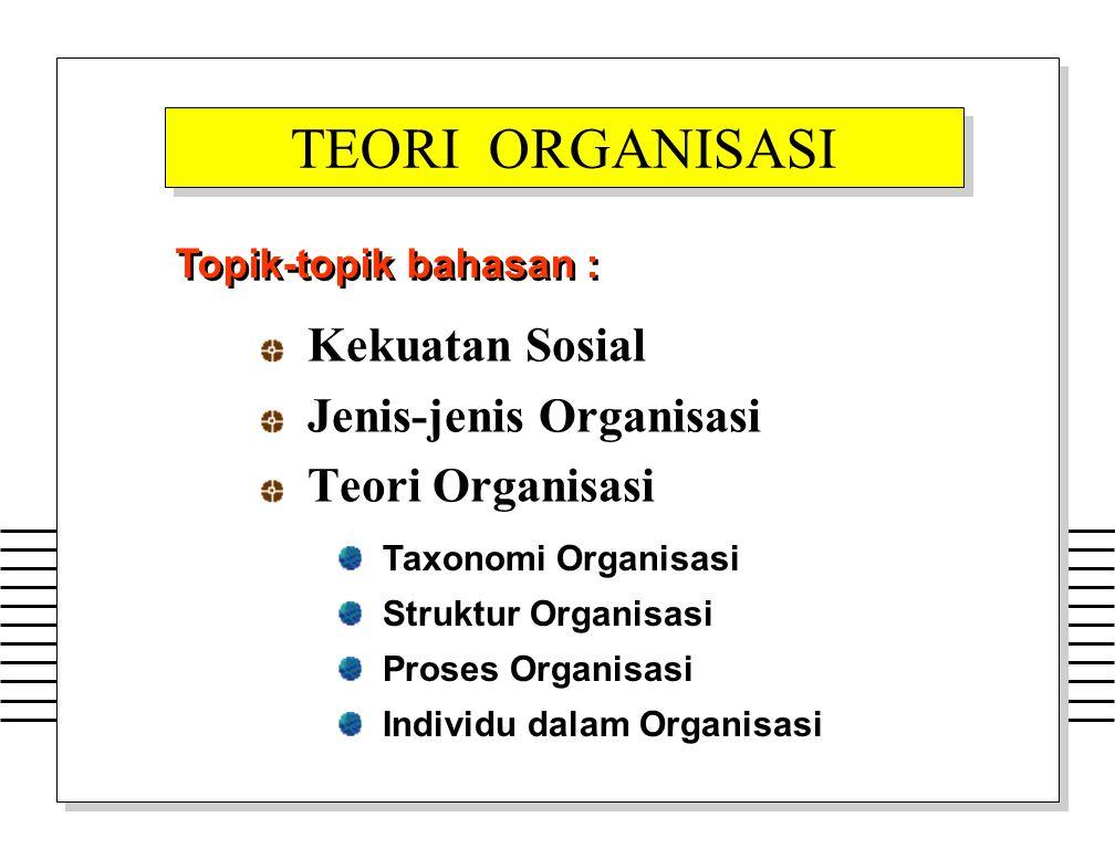 Kekuatan Sosial Jenis-jenis Organisasi Teori Organisasi