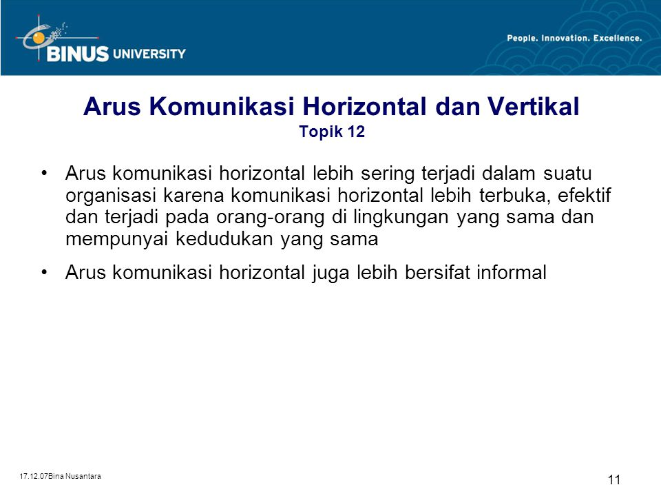 Arus Komunikasi Horizontal dan Vertikal Topik 12