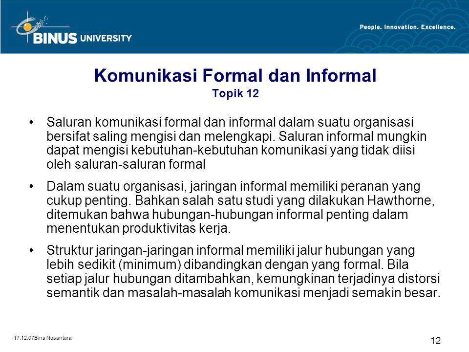 Komunikasi Formal dan Informal Topik 12