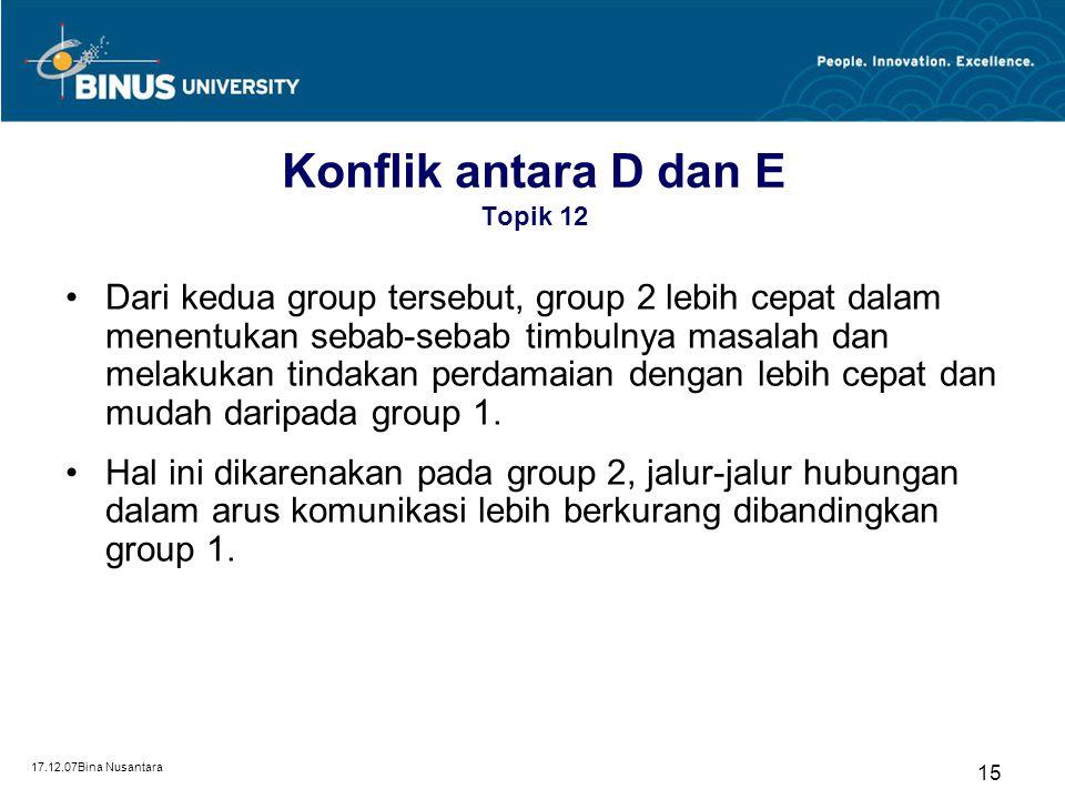 Konflik antara D dan E Topik 12