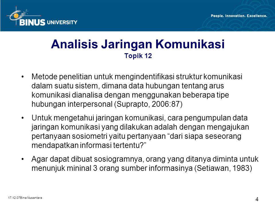 Analisis Jaringan Komunikasi Topik 12