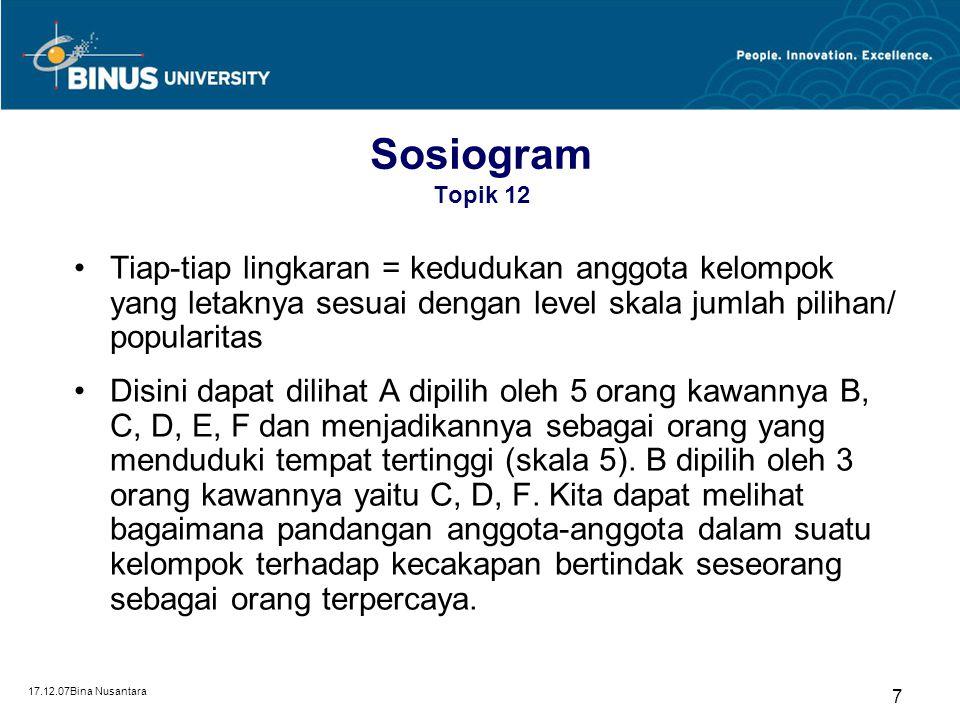 Sosiogram Topik 12 Tiap-tiap lingkaran = kedudukan anggota kelompok yang letaknya sesuai dengan level skala jumlah pilihan/ popularitas.