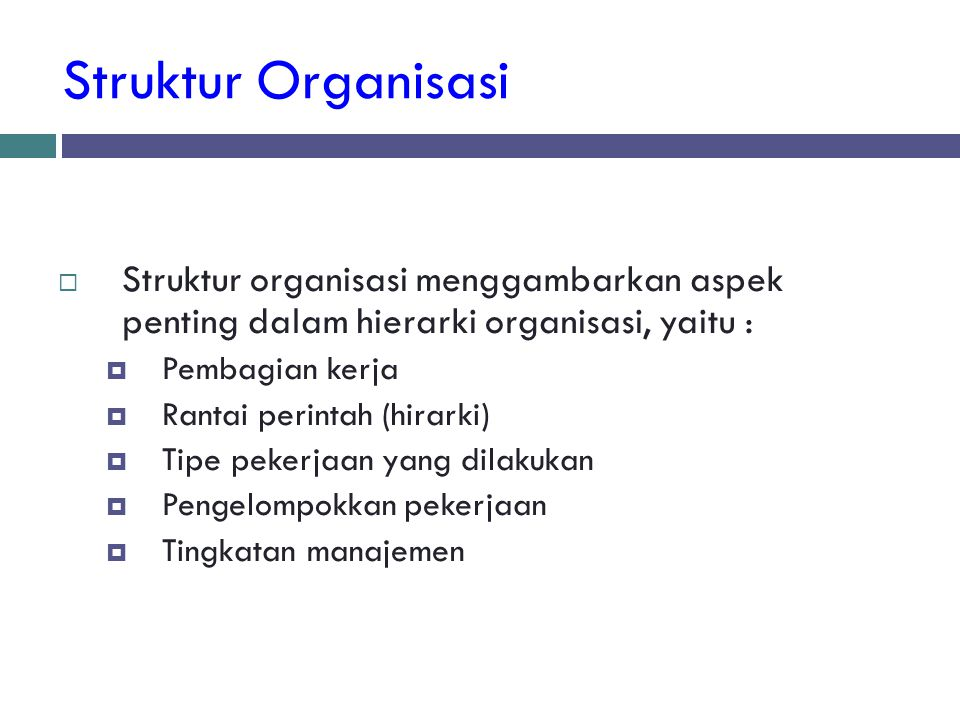 Struktur Organisasi Struktur organisasi menggambarkan aspek penting dalam hierarki organisasi, yaitu :
