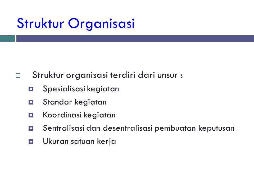 Struktur Organisasi Struktur organisasi terdiri dari unsur :
