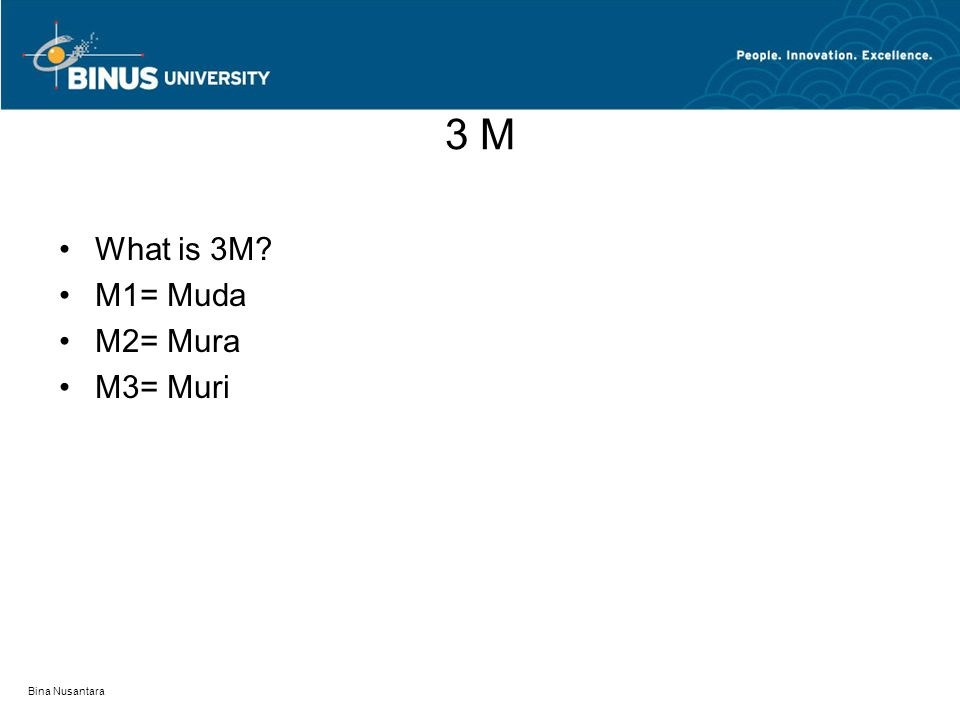 3 M What is 3M M1= Muda M2= Mura M3= Muri Bina Nusantara